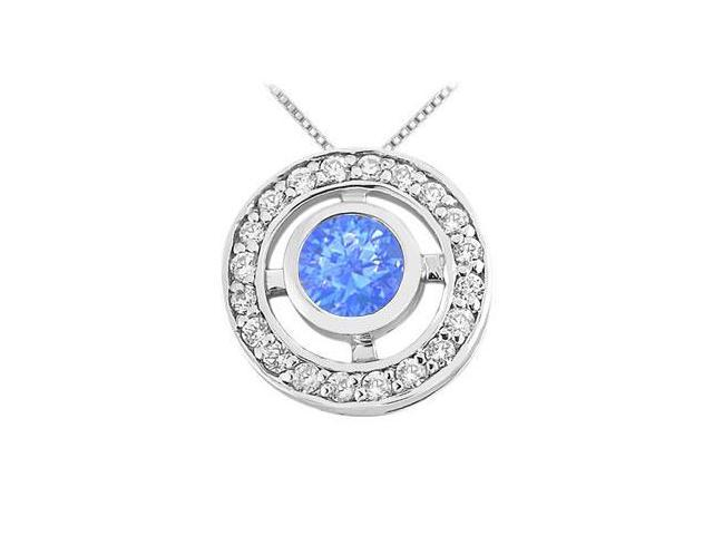 Diffuse Sapphire and Cubic Zirconia Pendant in Rhodium Treated 925 Sterling Silver 0.50 Carat TG