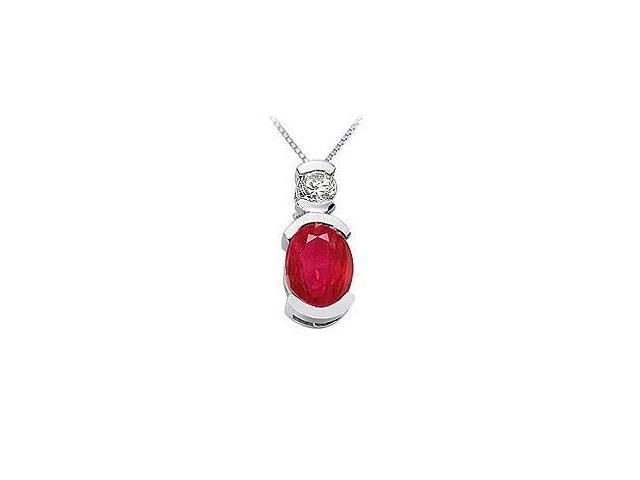 Ruby and Diamond Pendant  14K White Gold - 1.50 CT TGW
