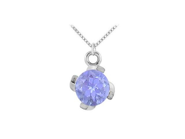 December Birthstone Created Tanzanite Pendant in  925 Sterling Silver 1.00 CT TGW.