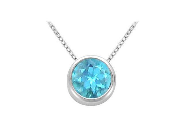 Created Blue Topaz Solitaire Pendant in 14kt White Gold 1.00.ct.tgw