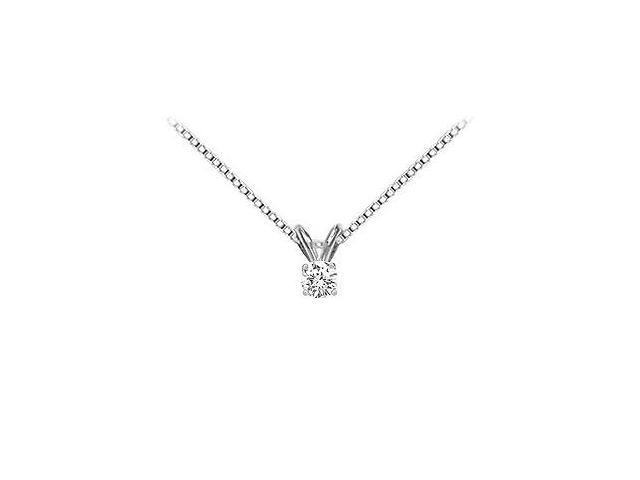 14K White Gold  Round Diamond Solitaire Pendant - 0.15 CT TW.