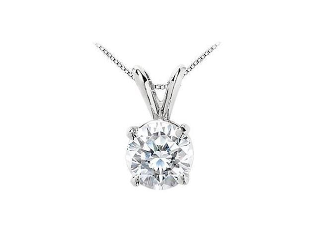 Cubic Zirconia Solitaire Pendant 10 Carat Round Prong Set in 14K White Gold AAA Quality