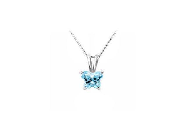 Sterling Silver Butterfly Pendant Necklace Aqua CZ Birthstone for March