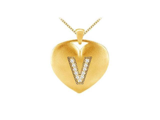 Diamond Heart Pendant with Letter V in 14K Yellow Gold 0.11 ct Diamonds