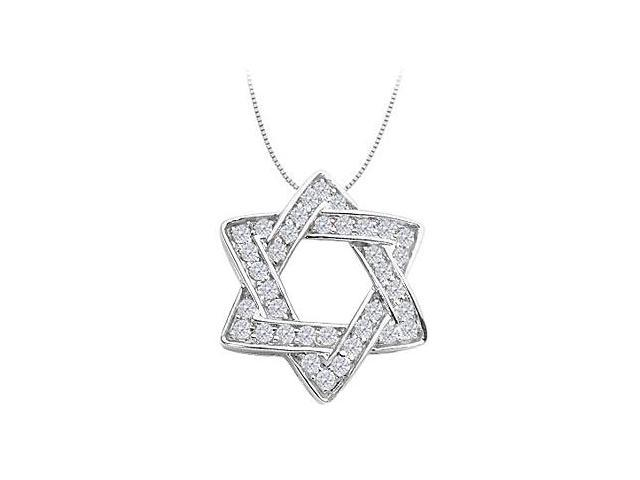 1 Carat Diamond Star of David Necklace in 14K White Gold
