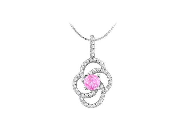 Flower Design Created Pink Sapphire and Cubic Zirconia Pendant in 14K White Gold 1.50 Carat TGW