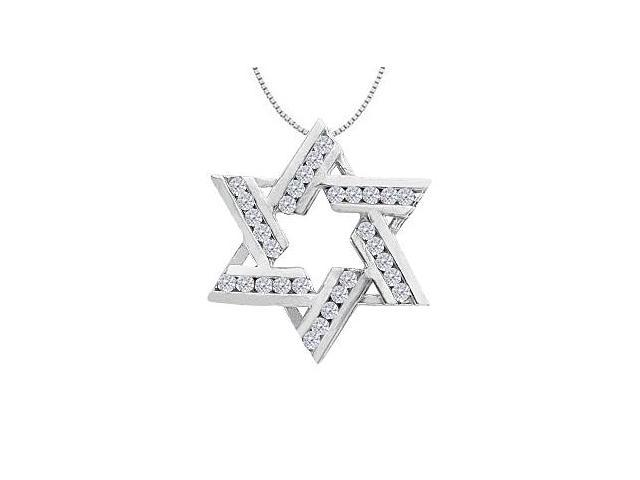 Diamond Star of David Pendant in 14K White Gold 0.50 Carat Diamonds