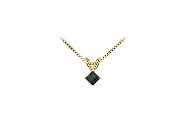 14K Yellow Gold  Princess Cut Black Diamond Solitaire Pendant - 0.75 CT. TW.