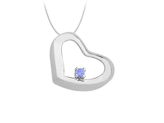 December Birthstone  Tanzanite Heart Pendant in 14kt White Gold  0.15 CT TGW