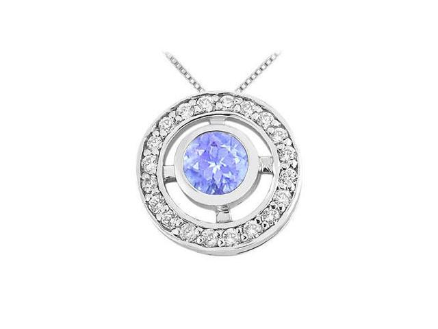 Bezel Set Tanzanite Pendant with Cubic Zirconia in Rhodium Treated .925 Sterling Silver 0.50 CT
