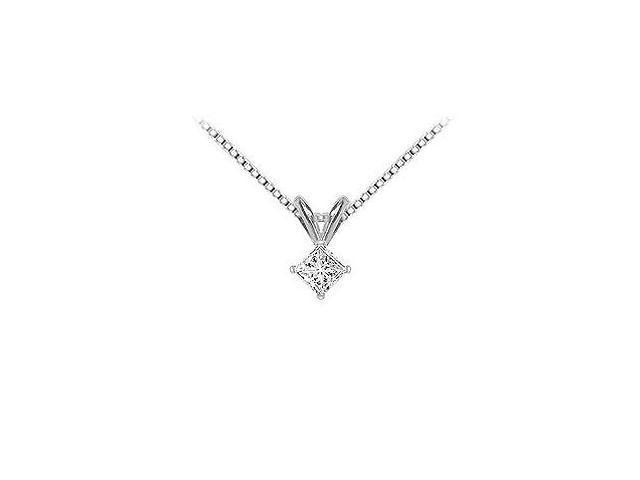14K White Gold  Princess Cut Diamond Solitaire Pendant - 0.25 CT. TW.