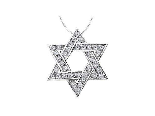 14K White Gold Star of David Necklace with Diamonds of 0.75 Carat