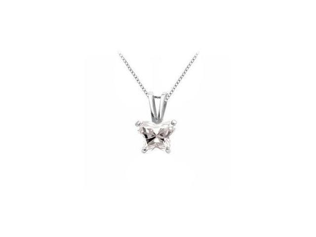Rhodium Treated .925 Sterling Silver Butterfly Necklace White CZ Birthstone for April