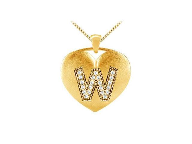 Initial W Diamond Heart Pendant in 14K Yellow Gold with 0.21 Carat Diamonds