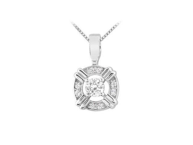 Cubic Zirconia Circle Pendant in Rhodium Treated .925 Sterling Silver 0.25 Carat TGW
