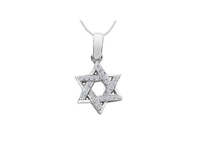 Star of David Necklace with Accents Diamond in 14K White Gold 0.20 Carat Diamonds