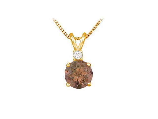 Diamond and Smoky Topaz Solitaire Pendant  14K Yellow Gold - 1.00 CT TGW