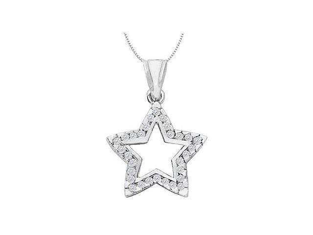 Diamond Open Star Necklace in 14K White Gold 0.50 Carat Diamonds