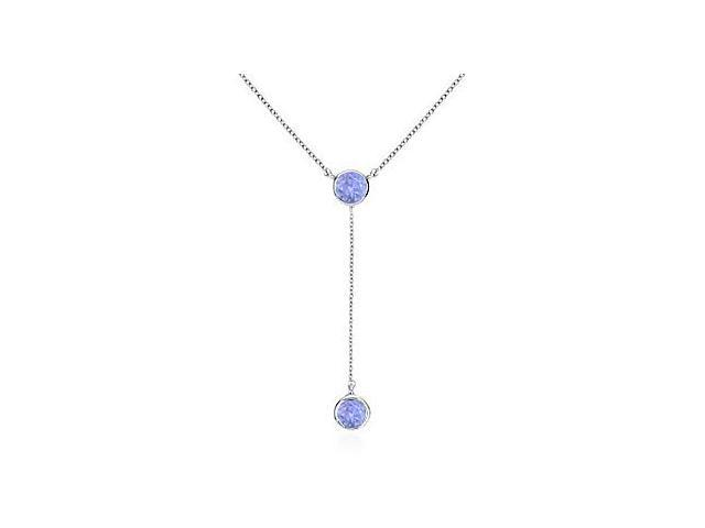 Chain with Simulated Tanzanite Drop Necklace in .925 Sterling Silver 0.20 Carat Total Gem Weight