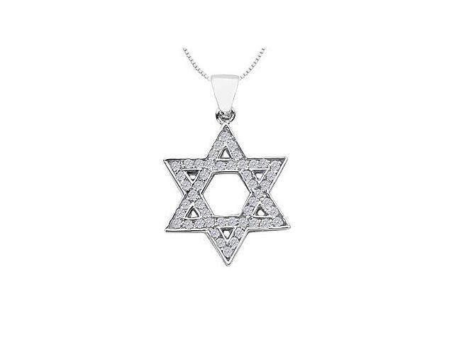 14K White Gold Star of David Diamond Pendant with 0.40 Carat Diamonds