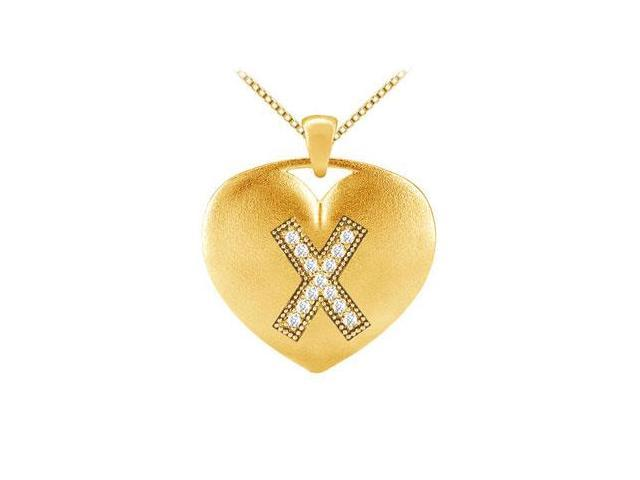 14K Yellow Gold Heart Pendant in Diamonds Initial X with  0.13 Carat TDW