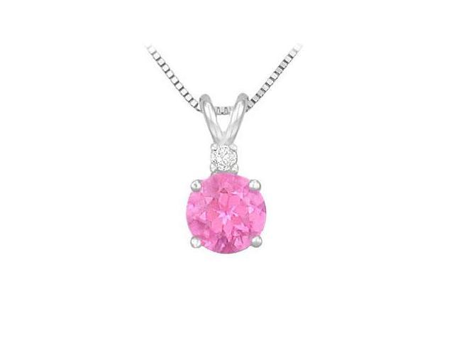 Diamond and Pink Topaz Solitaire Pendant  14K White Gold - 1.00 CT TGW