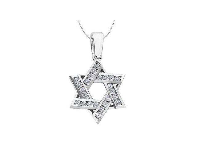 Diamond Entwined Star of David Pendant in 14K White Gold 0.60 Carat Diamonds