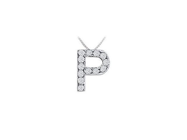 CZ Initial Sterling Silver P Pendant