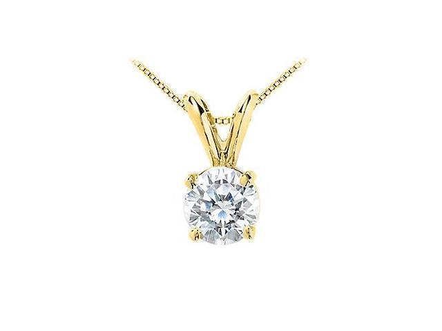 1 Carat Cubic Zirconia Solitaire Pendant in 14K Yellow Gold Brilliant Cut Triple AAA Quality CZ