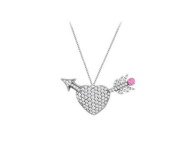 1 Carat Diamond and Pink Sapphire Heart with Arrow Pendant in 14K White Gold