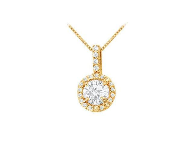 Fancy Round Cubic Zirconia Halo Pendant in 14K Yellow Gold Vermeil over Sterling Silver