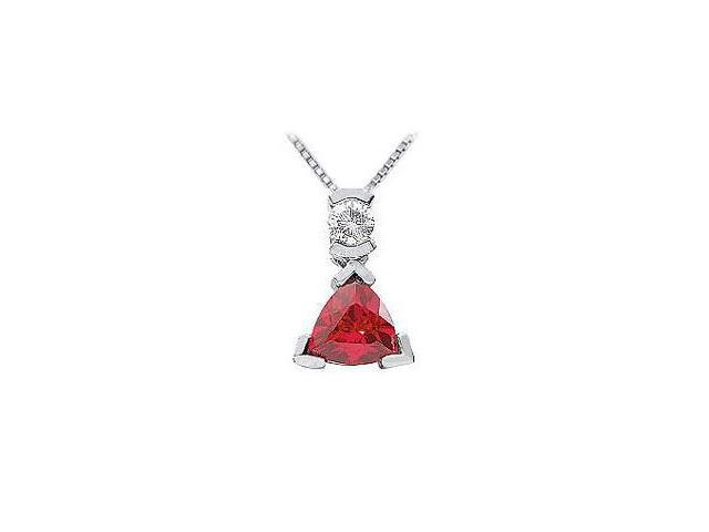 Ruby and Diamond Pendant  14K White Gold - 1.25 CT TGW