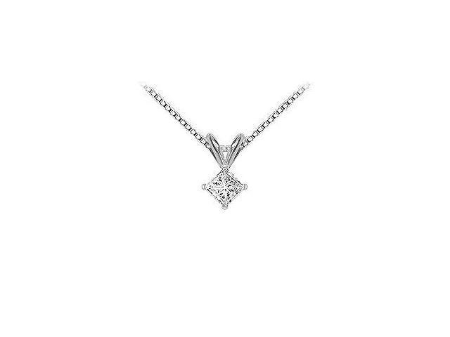 14K White Gold  Princess Cut Diamond Solitaire Pendant - 0.33 CT. TW.