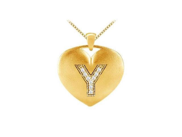 Diamonds Initial Y Heart Pendant in Yellow Gold 14K with 0.09 Carat Diamonds