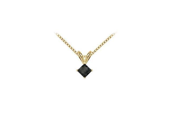14K Yellow Gold  Princess Cut Black Diamond Solitaire Pendant - 1.00 CT. TW.