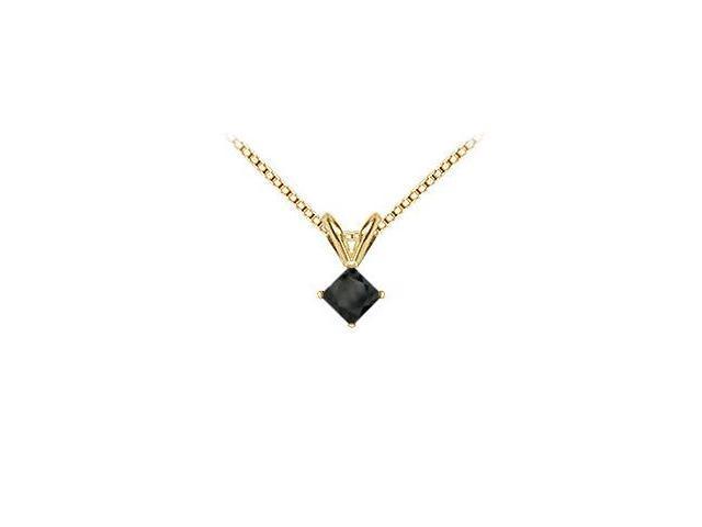 14K Yellow Gold  Princess Cut Black Diamond Solitaire Pendant - 1.00 CT. TW.