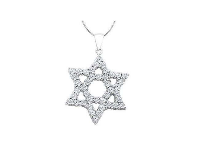 Diamond Star of David Necklace in 14k White Gold 1.25 Carat Diamonds