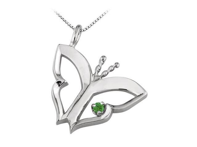Butterfly Pendant Necklace  with Created Emerald in Sterling Silver 0.15 CT TGW
