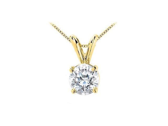 2 Carat Cubic Zirconia Solitaire Pendant Brilliant Cut in 14K Yellow Gold Triple AAA Quality