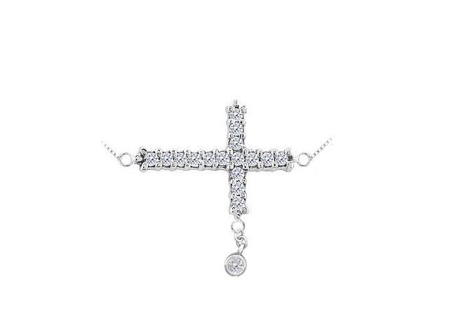 Sideways Cross Necklace with AAA CZ on 925 Sterling Silver. 0.25 CT. TGW.