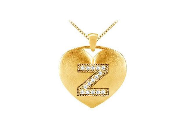 diamond initial Z heart pendant with 0.15 ct diamonds in yellow gold 14k