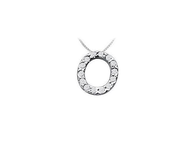 CZ Initial Sterling Silver O Pendant