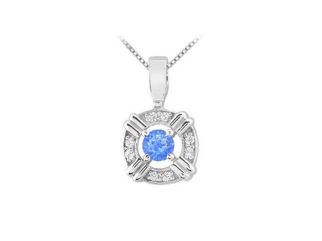 Prong Set Diffuse Sapphire and Cubic Zirconia Circle Pendant in 925 Sterling Silver 0.25 Carat T