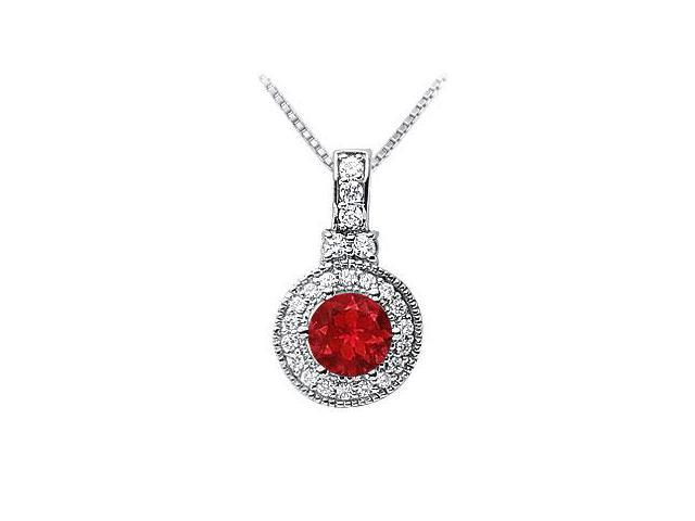 Ruby and Diamond Pendant  14K White Gold - 1.50 CT TGW