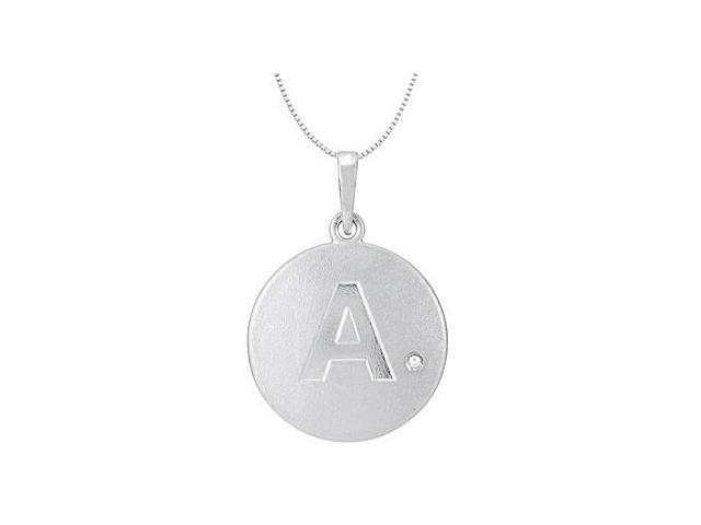 Block Initial A Disc Pendant From Polished 14K White Gold with Single 0.005 Carat Diamond