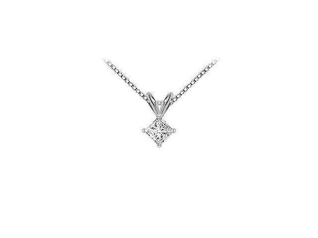 14K White Gold  Princess Cut Diamond Solitaire Pendant - 0.50 CT. TW.