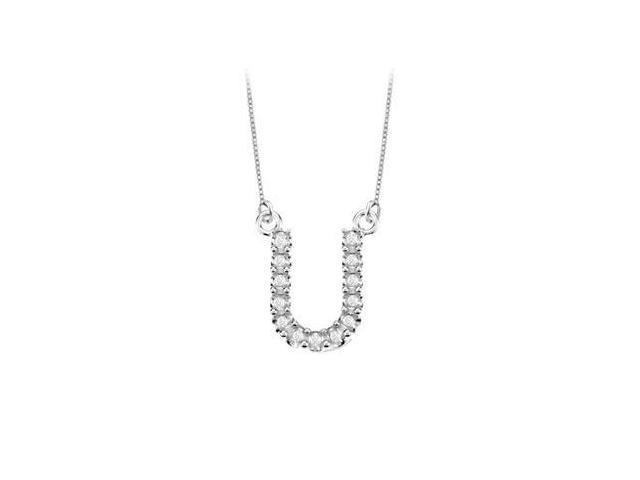 Petite Baby Charm Diamond U Initial Pendant  14K White Gold - 0.20 CT Diamonds