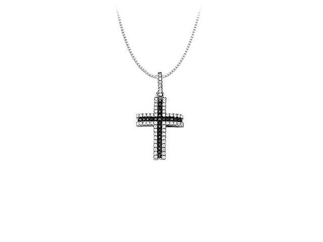 Black and White CZ Sterling Silver Small Cross Pendant