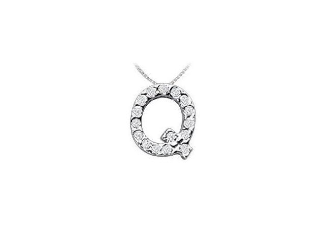 Classic Q Initial Diamond Pendant  14K White Gold - 0.15 CT Diamonds