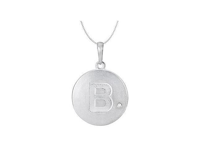 14K White Gold Block Initial B Disc Pendant with 0.005 Carat Single Diamond 16 Inch Necklace